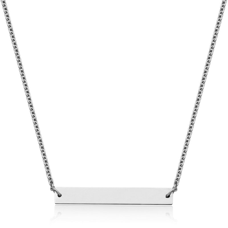 "STEELX STEELX ""Personlize Collection"" High Polished Bar Necklace. 17+3"""