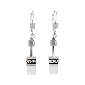 GeoCUBE® Earrings silver & white