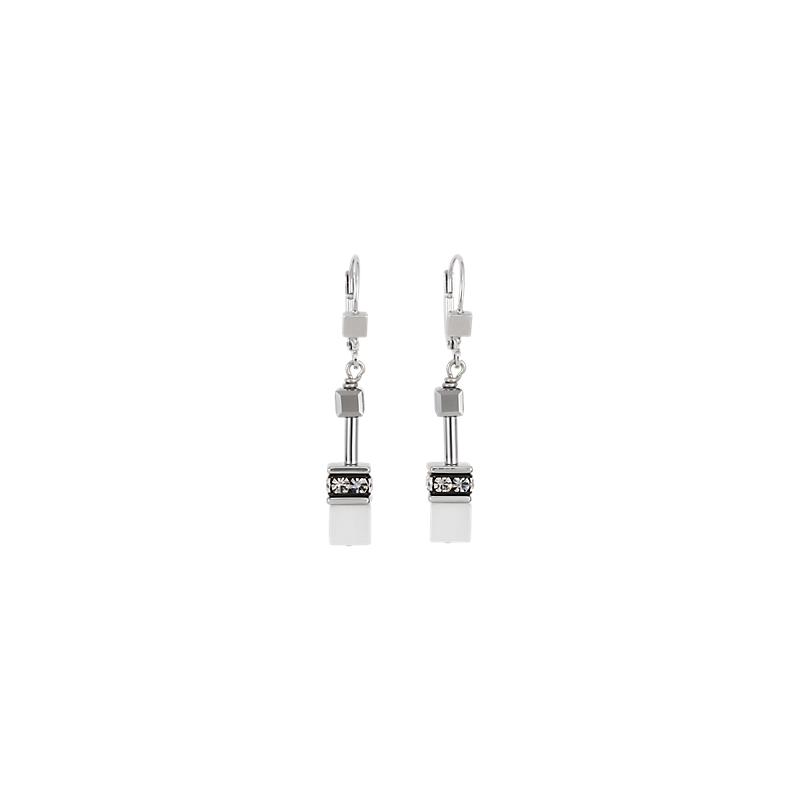 Coeur De Lion GeoCUBE® Earrings silver & white