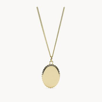 Scalloped Edge Gold-Tone Steel Pendant