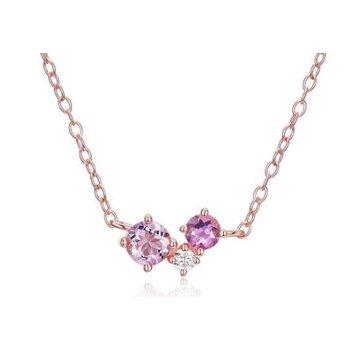 Three Stone Amethyst Necklace