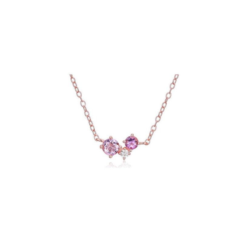 Reign Three Stone Amethyst Necklace
