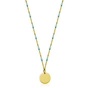 Gold Tone & Turquoise Disc Pendant