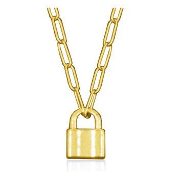 Lock Pendant Necklace Gold Tone