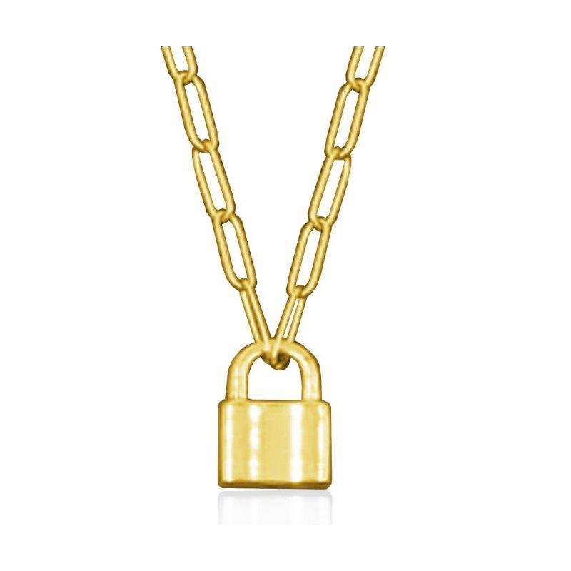 STEELX Lock Pendant Necklace Gold Tone