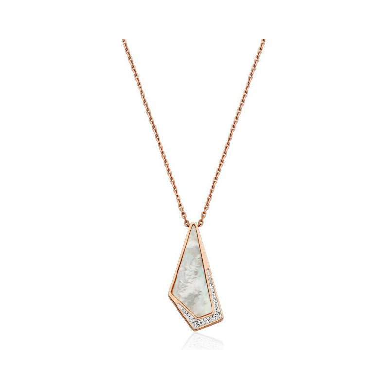 STEELX Mother of Pearl CZ Pendant Necklace