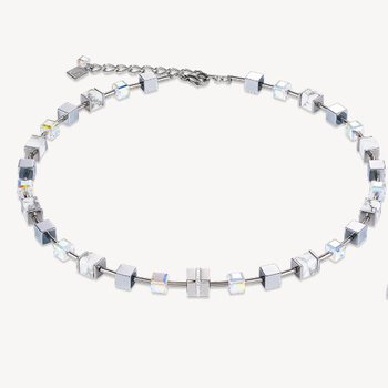 Necklace GeoCUBE®  howlite silver-white