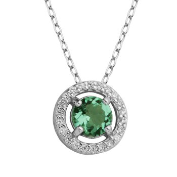 Birthstone halo pendant- May
