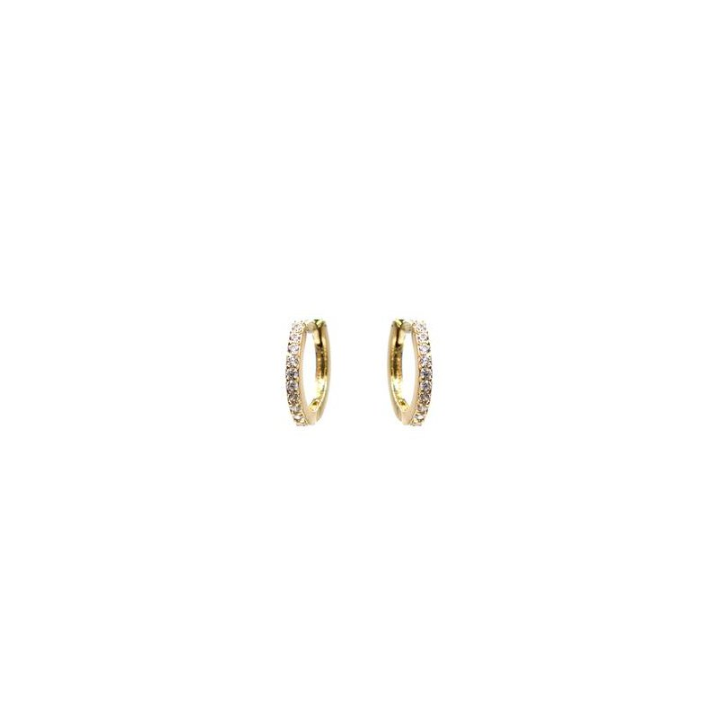 """eLiasz and eLLa """"CZ Sparkle"""" Gold Huggie Hoop Earrings"""