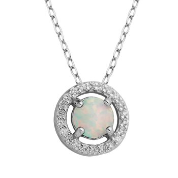 Birthstone Halo Pendant- October