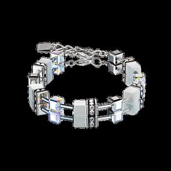 GeoCUBE® Bracelet silver & white
