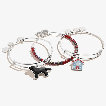 Home is Where the Paw is' Doghouse Charm Bangles, Set of 3