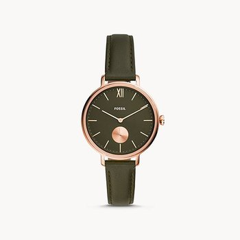 Kalya Three-Hand Olive Leather Watch