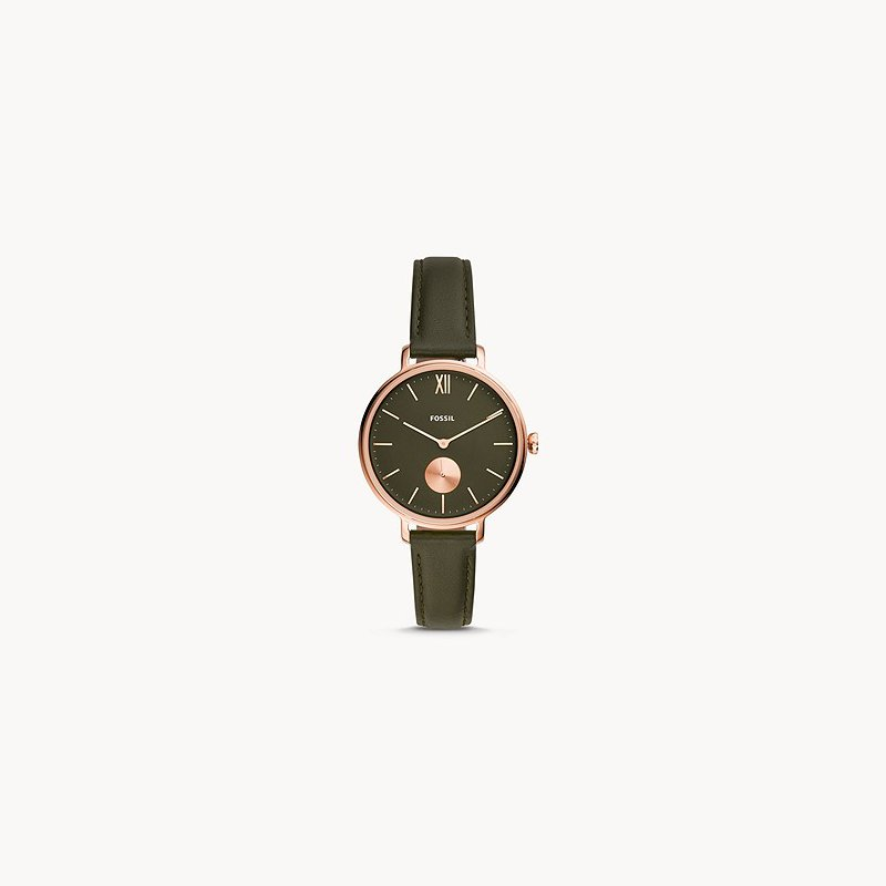 Fossil Kalya Three-Hand Olive Leather Watch