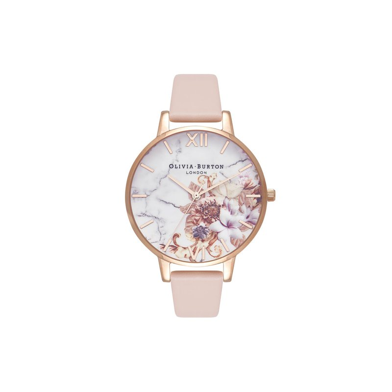 Olivia Burton Marble Floral Nude Peach & Rose Gold Watch