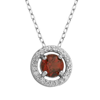 Birthstone Halo Pendant- January