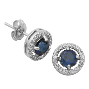 Birthstone Halo Earrings- September