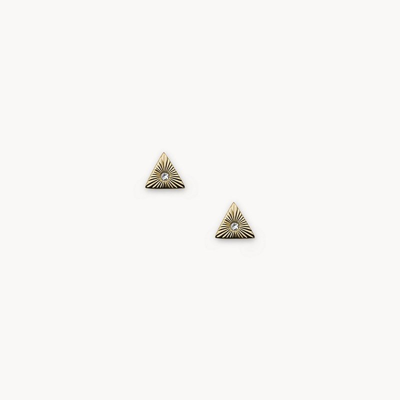Fossil Little Fortunes Gold-Tone Stainless Steel Stud Earrings