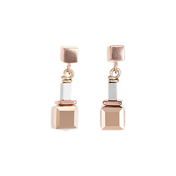 Earrings GeoCUBE® beige-rose-rose gold