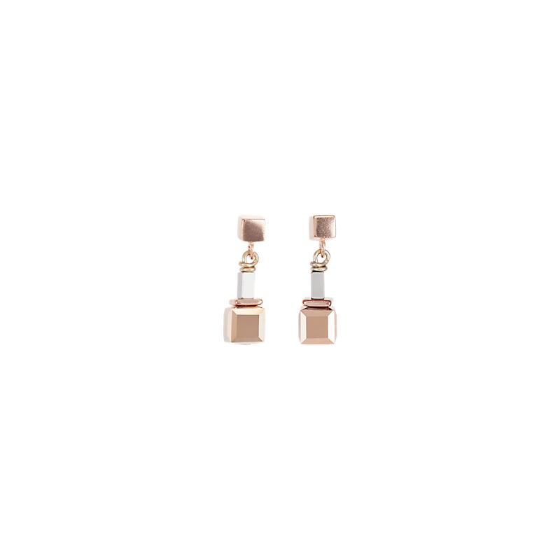 Coeur De Lion Earrings GeoCUBE® beige-rose-rose gold