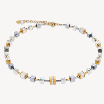 Necklace GeoCUBE® howlite gold-white