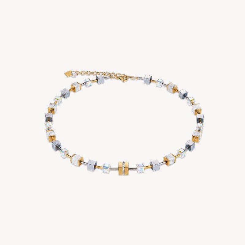 Coeur De Lion Necklace GeoCUBE® howlite gold-white