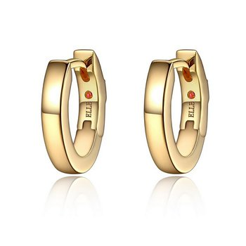 Gold Plated Mini 13x11MM Hoop Earring