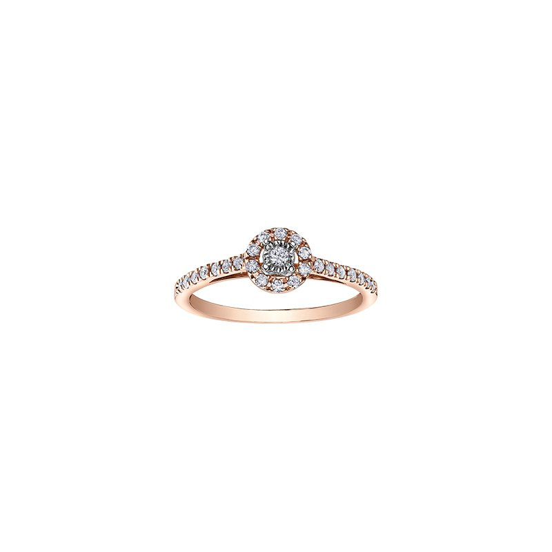 D of D Signature Round Brilliant Bridal Ring with Halo