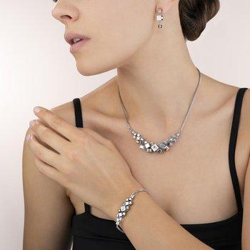 Earrings GeoCUBE® cluster silver-rose gold