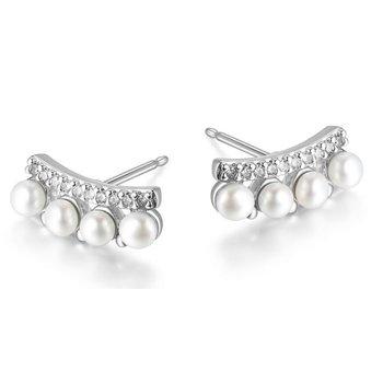 Rhodium Pearl CZ Earrings