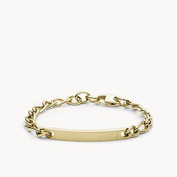 Gold-Tone Steel Plaque Bracelet