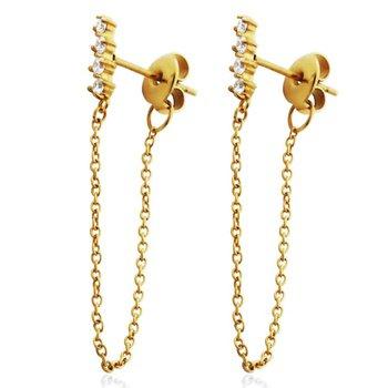 Gold Tone CZ bar Dangle Earring