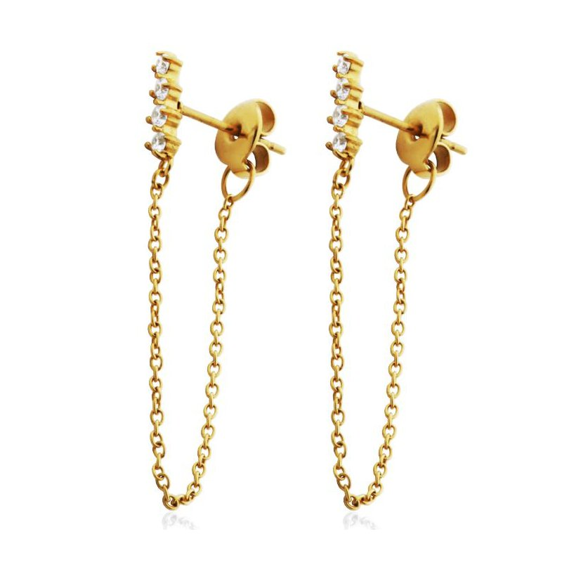 STEELX Gold Tone CZ bar Dangle Earring