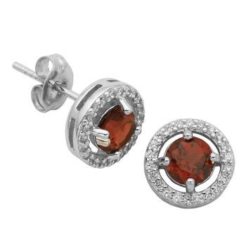 Birthstone Halo Earrings- January