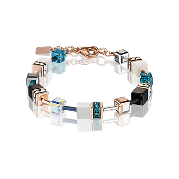 GeoCUBE® Bracelet rose gold, white & petrol