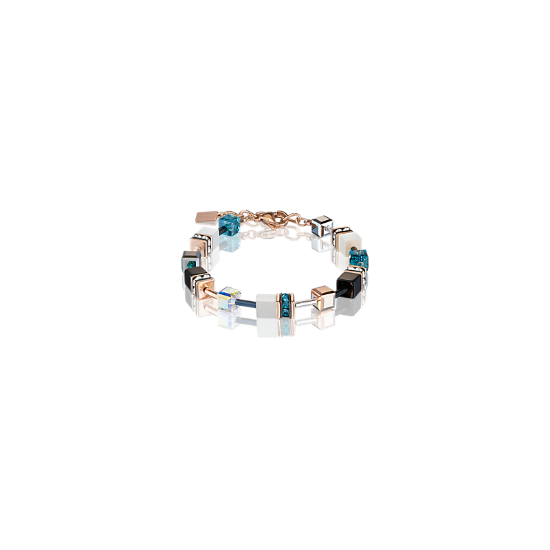 Coeur De Lion GeoCUBE® Bracelet rose gold, white & petrol