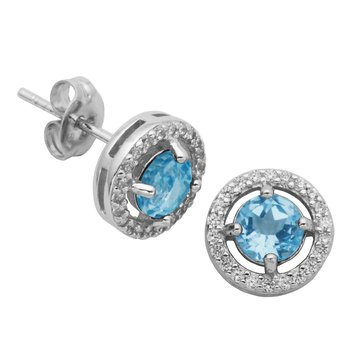 Birthstone Halo Earrings- March