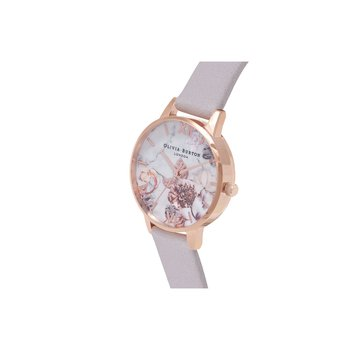 Marble Floral Grey Lilac & Rose Gold Watch