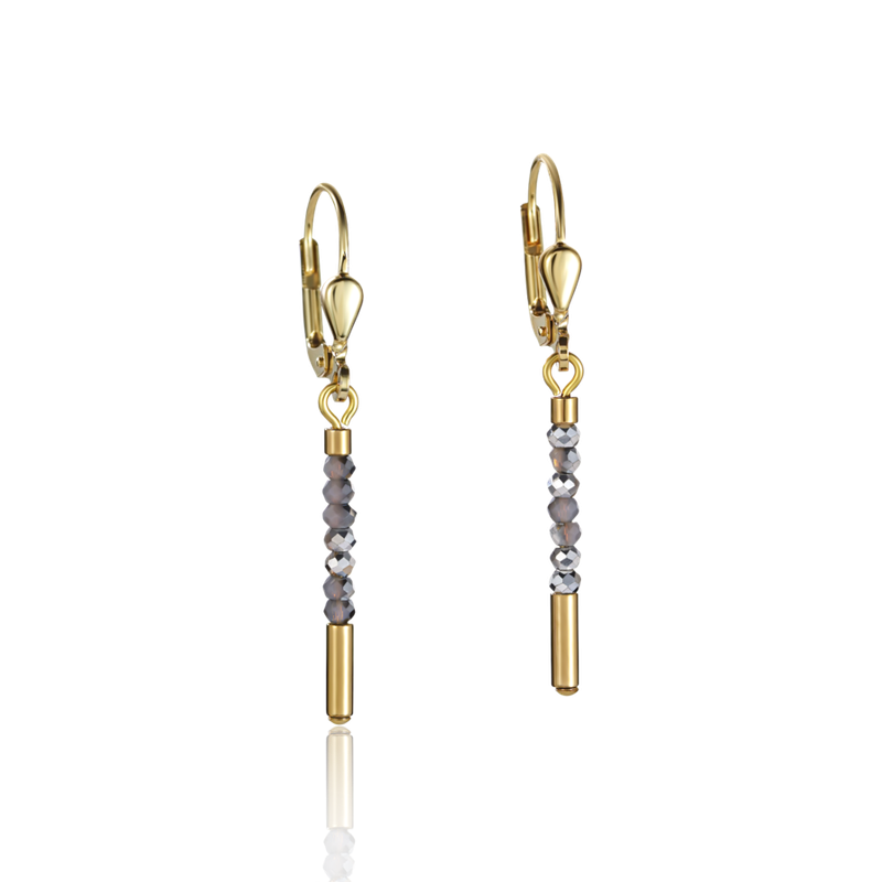 Coeur De Lion Earrings Waterfall small stainless steel gold & glass silver