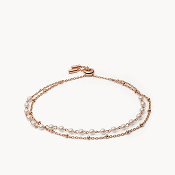 Imitation Pearl Rose Gold-Tone Stainless Steel Multi-Strand Bracelet