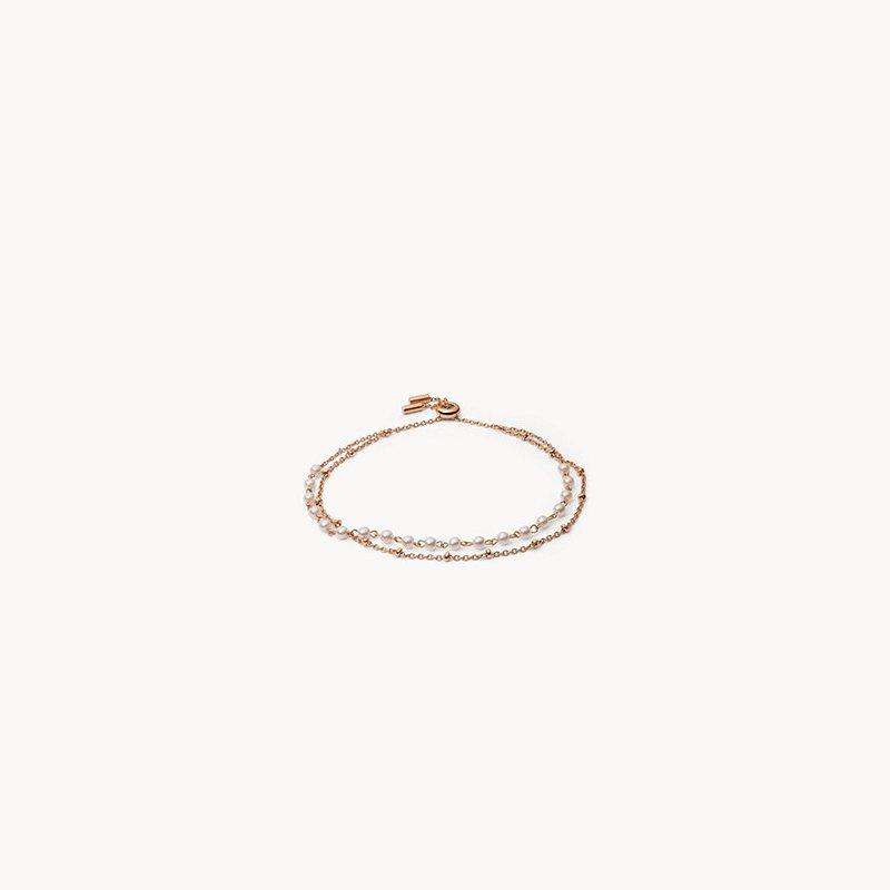 Fossil Imitation Pearl Rose Gold-Tone Stainless Steel Multi-Strand Bracelet
