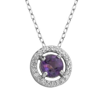 Birthstone Halo Pendant- February