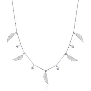 Leaf Necklace with Crystals
