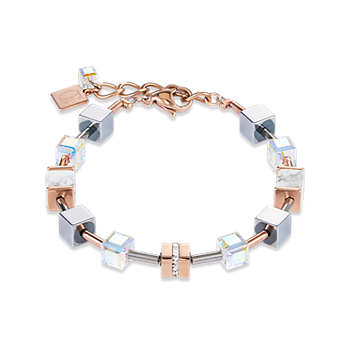Bracelet GeoCUBE® howlite rose gold-white