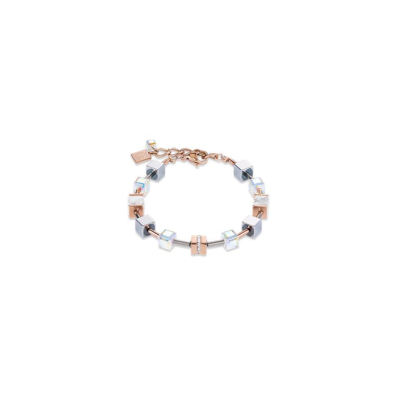 Coeur De Lion Bracelet GeoCUBE® howlite rose gold-white