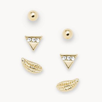 Gold-Tone Brass Stud Earrings Set