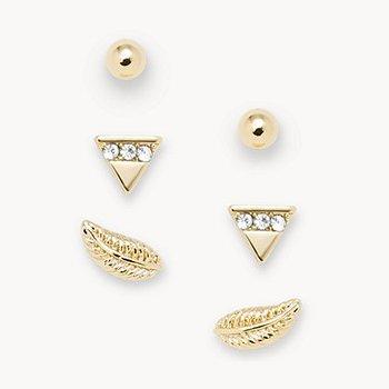 Gold-Tone Brass Stud Earrings Set