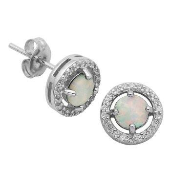 Birthstone Halo Earrings- October