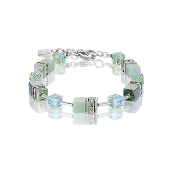 GeoCUBE® Bracelet amazonite & haematite light green