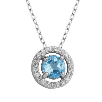 Birthstone Halo Pendant- March